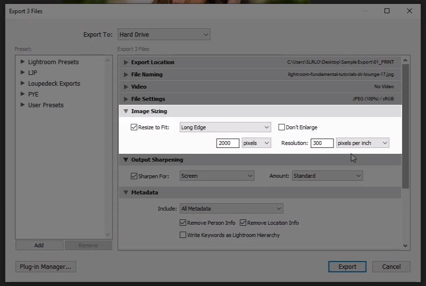 Resize to fit in lightroom export dialogue box shadow