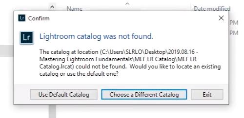 Lightroom dialog for missing catalog