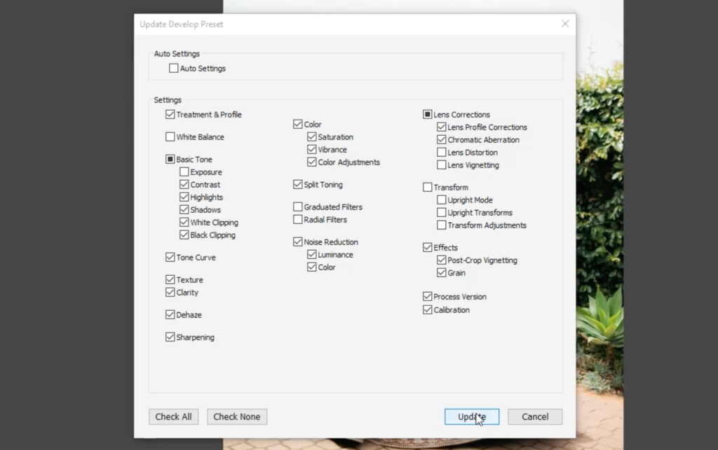 with settings selected click update